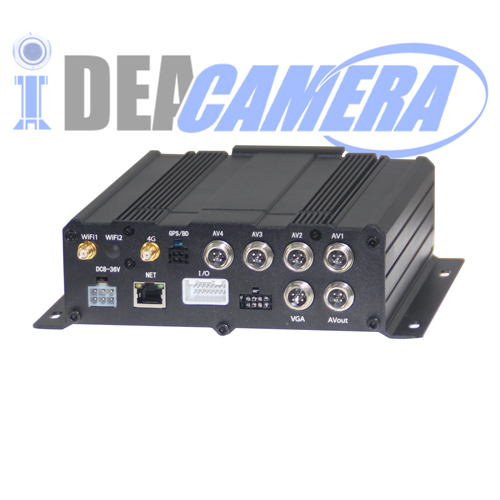 4CH H.264 720P HD AHD Vehicle Mobile Car DVR, Support Hard disk and TF Card storage