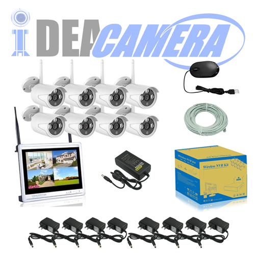 2MP Wifi NVR Kit, 8CH P2P CCTV Kit with LCD Display, plug&play, Real-time Playback, Eseecloud App