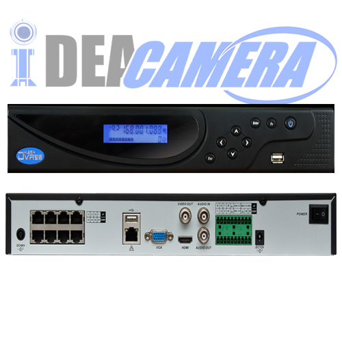 8CH 2SATA H.264 NVR with 8POE ports,1CH face detection,VSS Mobile App,Max 8ch 6MP IPC