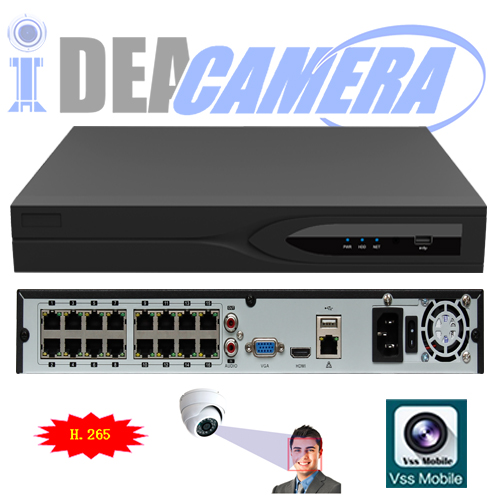 H.265 NVR,16CH 2SATA HD NVR with 1CH Face Detection,VSS Mobile App,16CH Playback,P2P