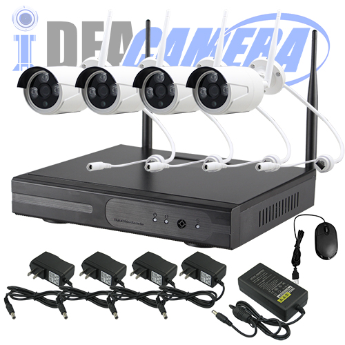 1.3MP Wifi NVR Kit, 4CH P2P CCTV Kit, plug&play,Real-time Playback,Eseecloud App,150Meters wifi connections